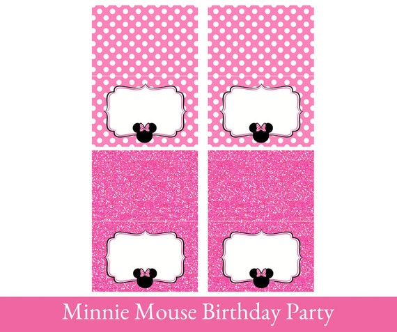 Minnie Mouse Food Tent Cards Printable Foldable