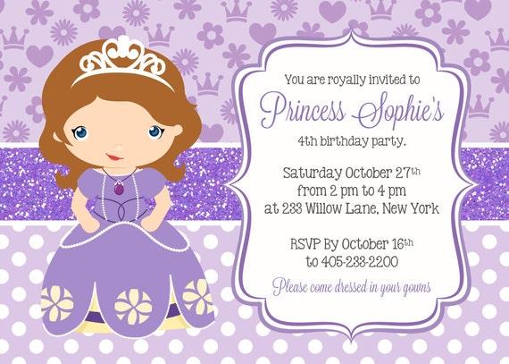 Princess Sofia Invitation Princess Party Invitation Sofia Etsy