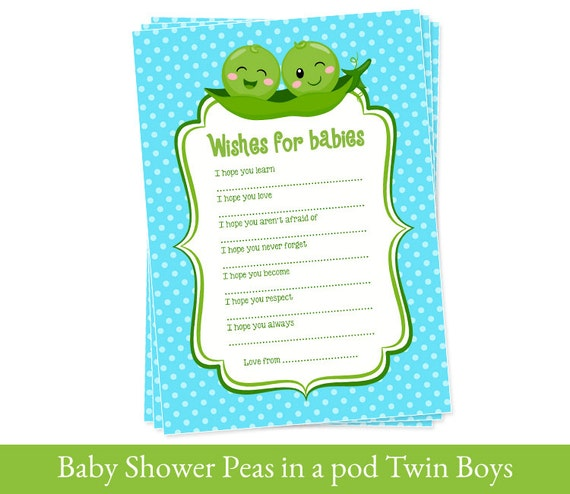 Twins Wishes For Baby Cards Baby Shower Printable Twin Boys Etsy