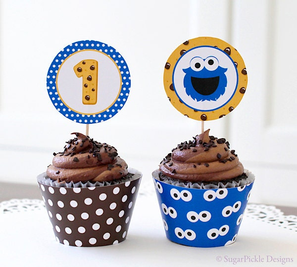 Cookie Monster Cupcake Topper 1st Birthday Cookie Monster