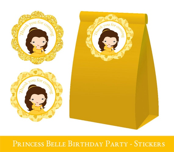 Belle Thank You Tags Belle Party Belle Loot Bag Label Belle Etsy Custom Belle Birthday Party Decorations