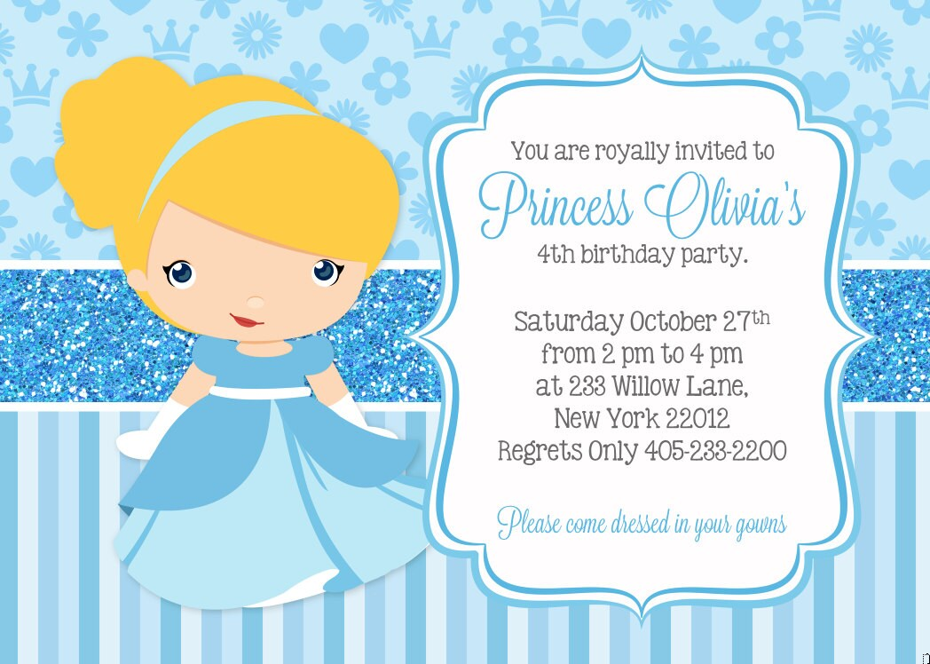 Cinderella Invitation Cinderella Party Invitation Princess Etsy