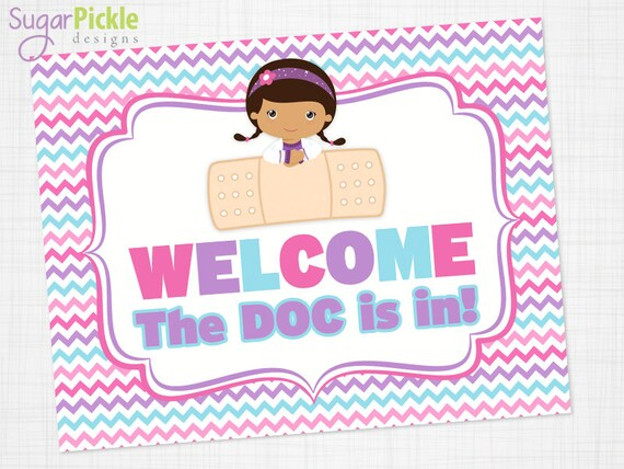 Doc Mcstuffins Party Welcome Sign Welcome Sign Printable Doc Etsy