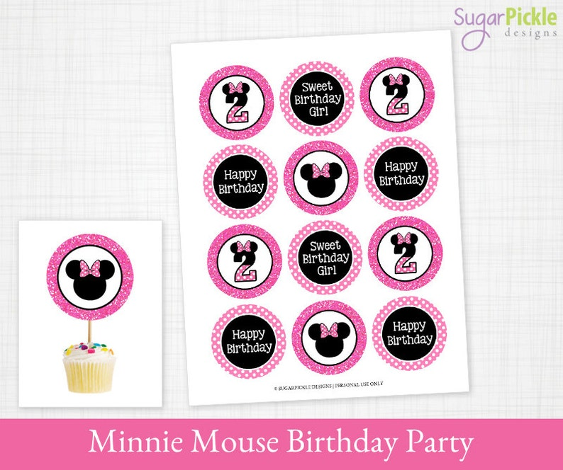 Minnie Mouse Cupcake Toppers 2nd Birthday