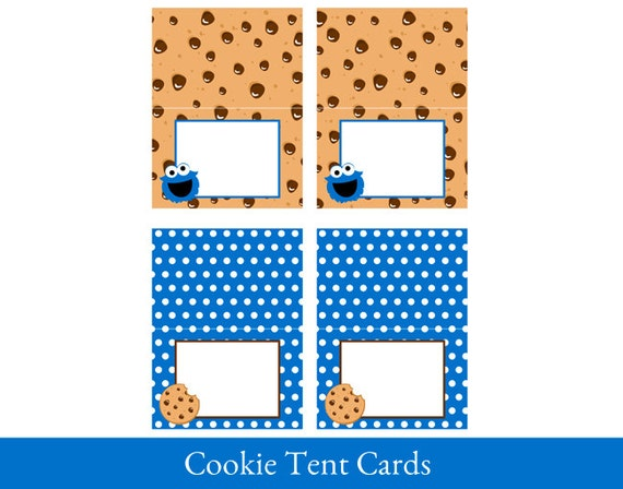 image regarding Cookie Monster Printable named Cookie Monster Tent Playing cards, Foldable, Tent Playing cards printable, Food stuff Labels, Cookie Monster Motivated Social gathering Printable, Cookie Decorations