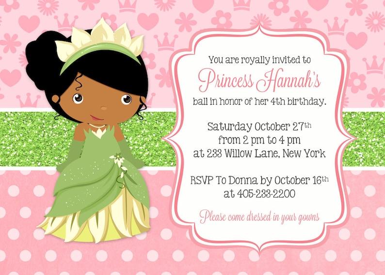 Princess Tiana Invitation And The Frog
