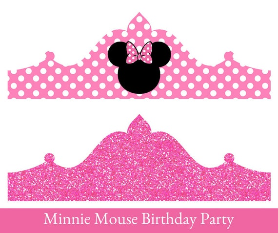 Minnie Mouse Birthday Crown Printable Party Crown Minnie Etsy