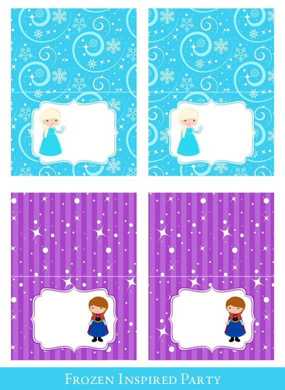Frozen Tent Cards Tent Cards Printable Foldable Food Cards Printable Food Labels Frozen Party Printable Frozen Decorations