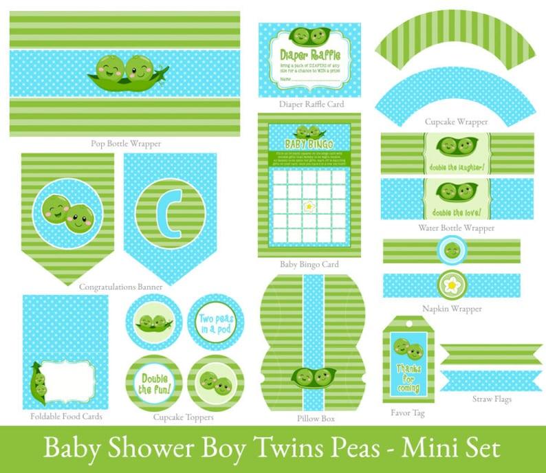 Twin Boys Baby Shower Printable Mini Set Twins Party Mini Etsy