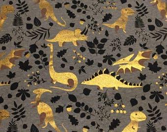 Gold Dinosaurs - Cotton Jersey Knit Fabric