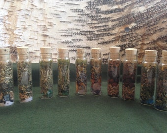 Elemental witch bottles herbal charms spellcraft magick herbalism earth air fire water ether moonlight