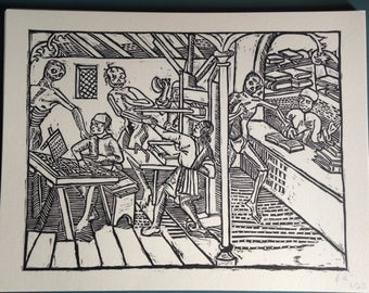 "Dance of Death woodcut print, limited edition Medieval woodcut print, ""Death in a print shop"""