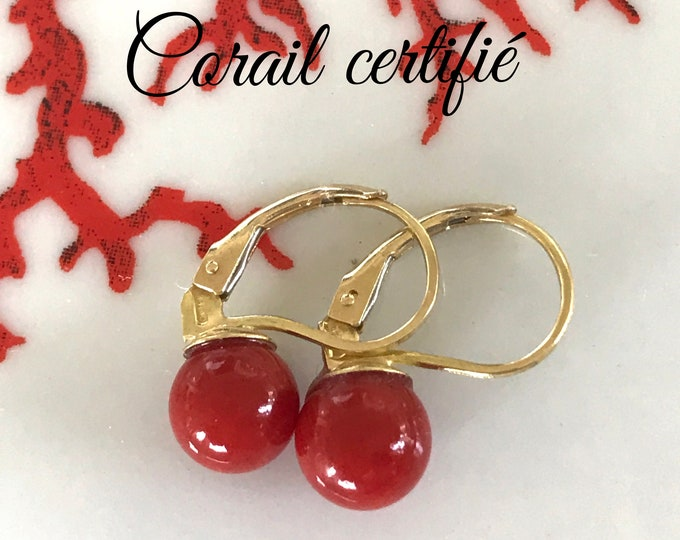 d1e431a5a Earrings in red coral, grade AAA on 18K gold