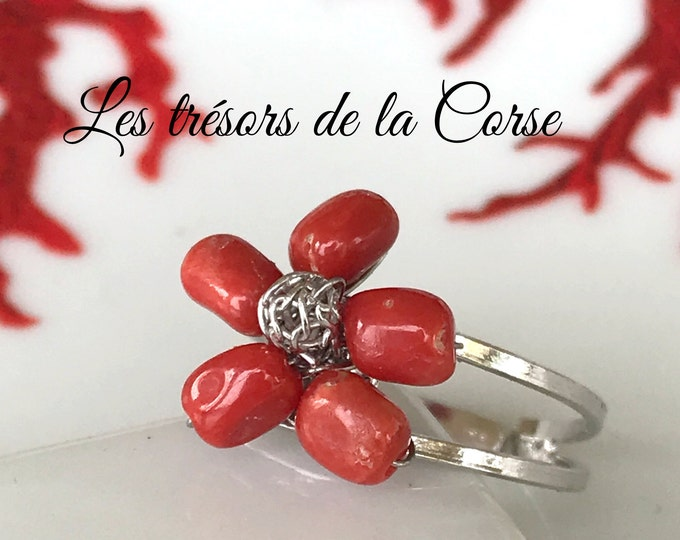 8a1284ed6 Ring in natural red coral Corsican Mediterranean on silver, flower shape,  love gift