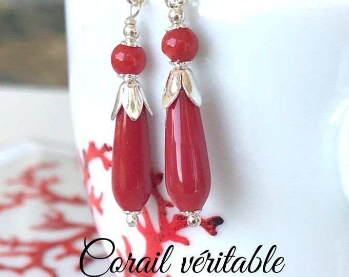 6701e172b Drops earrings in Mediterranean Corsican red coral and sterling silver,  certified true coral