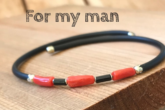 father/'s day gift gift wedding anniversary Men/'s bracelet in Mediterranean Red coral Corsican certified genuine