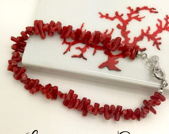 Certified full-bodied red coral bracelet