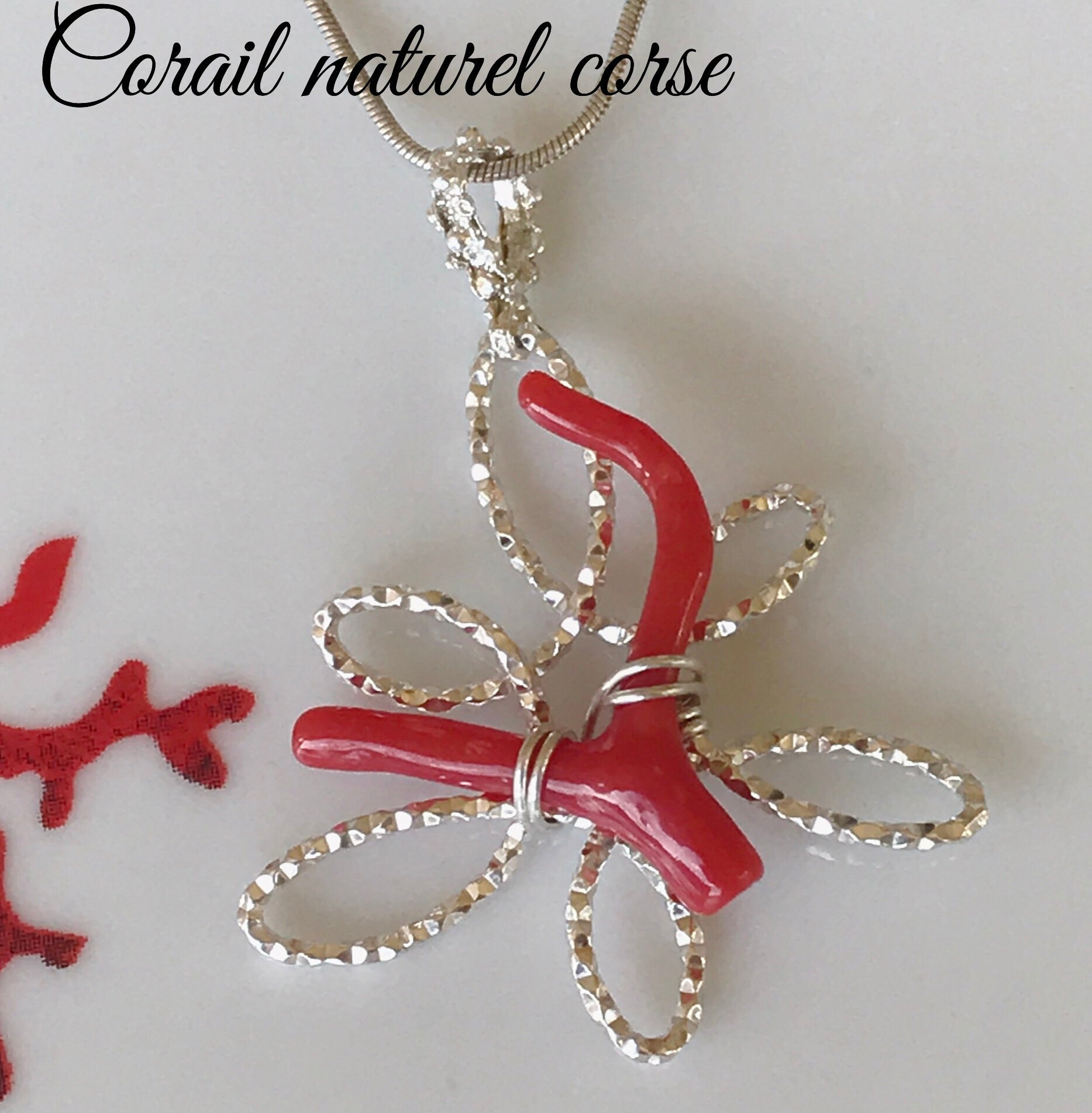 Carte Cadeau Galerie Cora.Pendant Branch Of Natural Mediterranean Red Coral Happiness