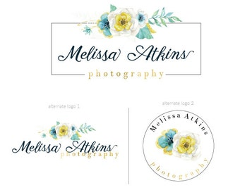 Watercolor flower logo  premade logo package watermark  branding package photography logo marketing package