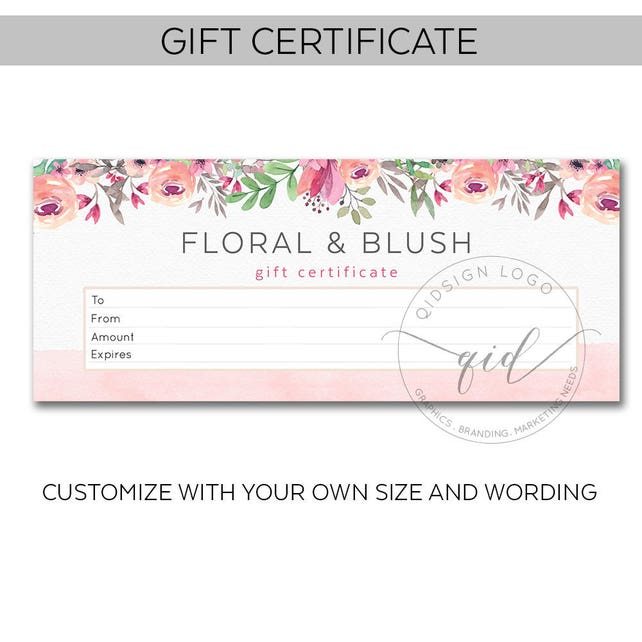 Printable Gift Certificate Voucher Template Promotional Etsy