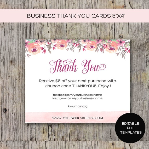 business thank you card printable diy instant download etsy