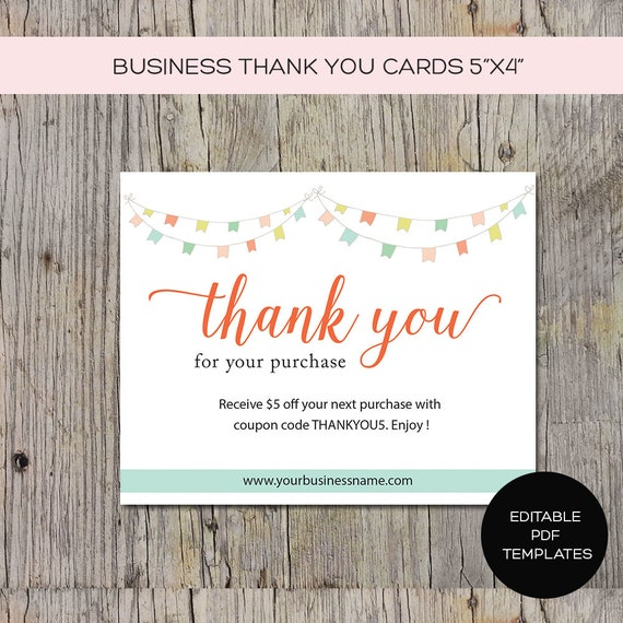 business thank you card for products packaging or promoting etsy