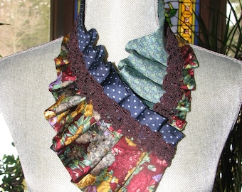 Necktie Ascot - Necktie Necklace - Refashioned Necktie - Pleated Necktie