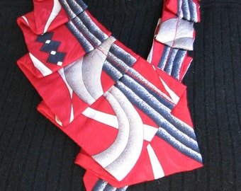 Silk Ascot - Necktie Necklace - Refashioned Necktie - OOAK neckwear