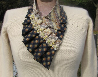NEW - Silk Ascot - Necktie Ascot - Ladies Ascot - Ruffled Scarf - Refashioned Necktie - Silk Collar - OOAK necktie accessorie