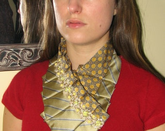 NEW - Trendy Silk Ascot - Necktie Necklace - Refashioned Necktie - Women's ascot