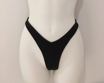 High Leg Brazilian Bikini Bottom in Black