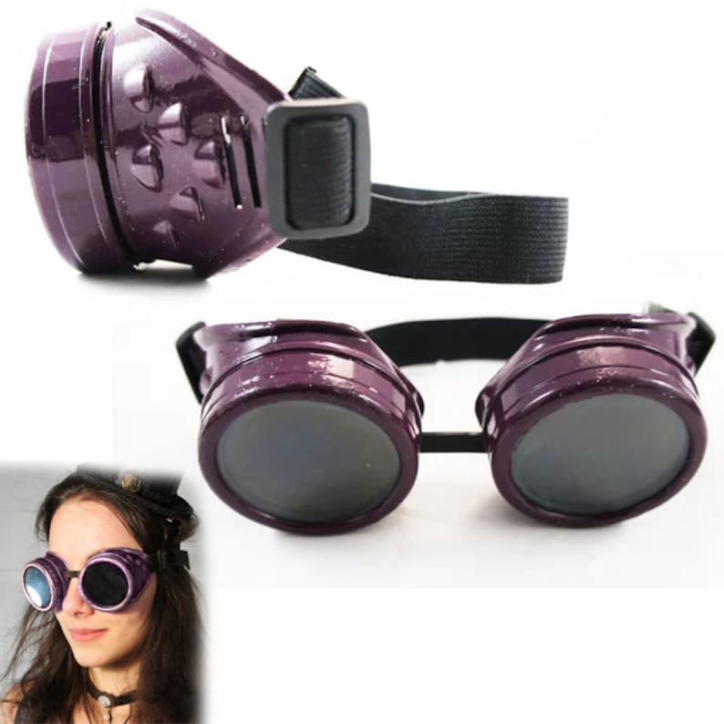 Dark Purple Steampunk Goggles Glasses & 4 Pairs of 50mm Lenses ~ Includes  Metal Mesh / Glass / Resin Lenses