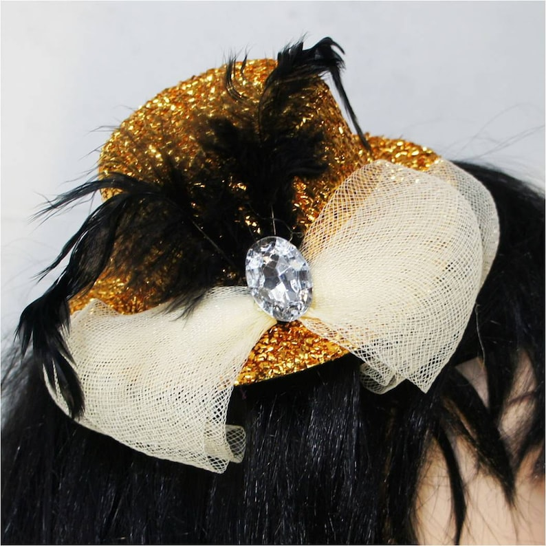 339d3ddb103bb Gold Mini Top Hat w  Black Feathers Crystal and White Net