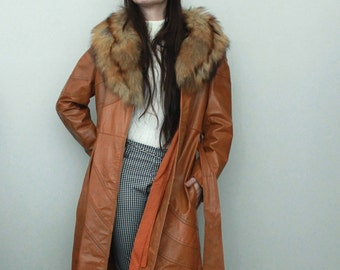 Vintage Tan Leather and Fur Coat
