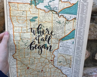 Minnesota & Mississippi | personalized calligraphy map | original vintage map | calligraphy map | custom calligraphy map