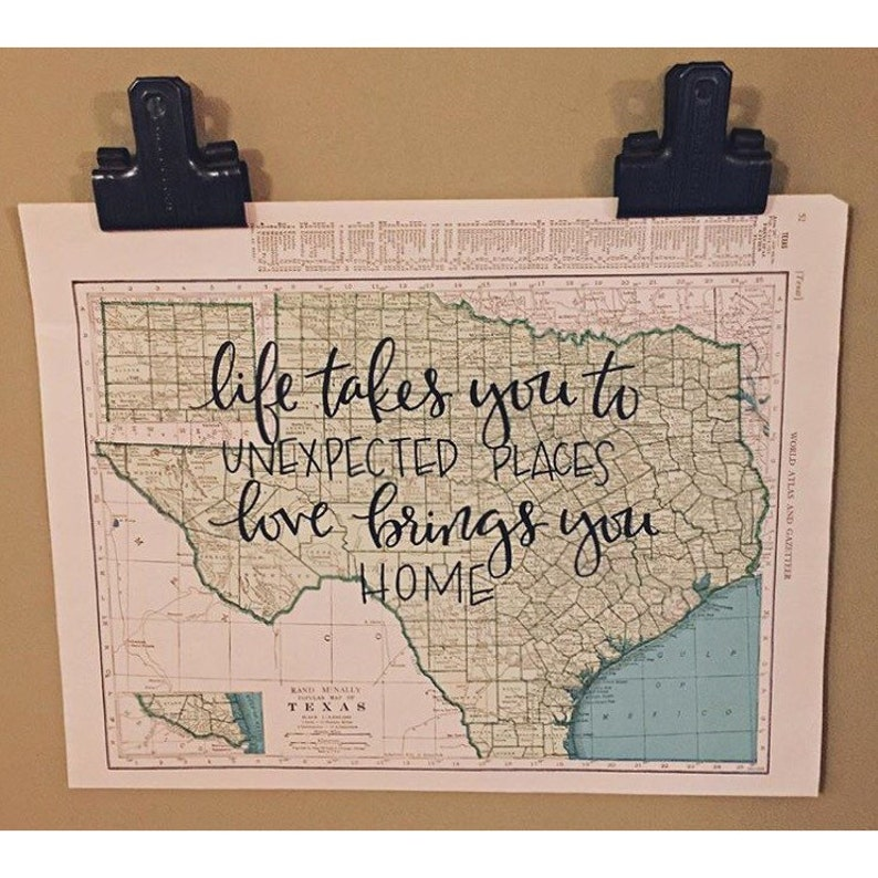 South Dakota & Texas  personalized calligraphy map  original image 0