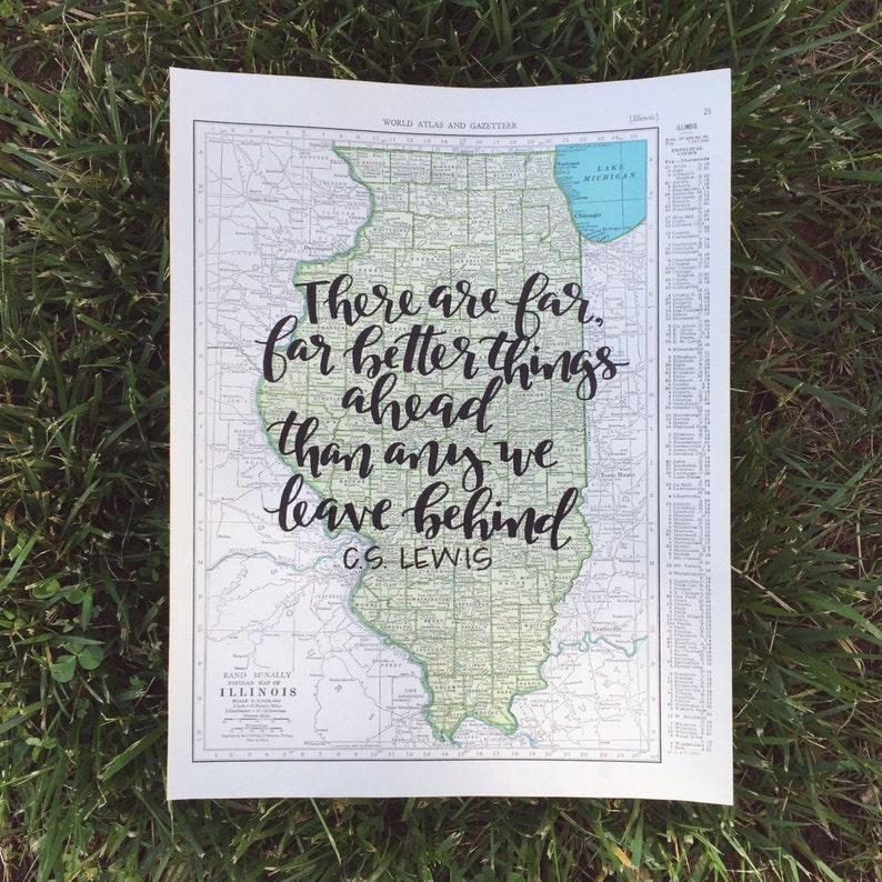 Illinois & Indiana  personalized calligraphy map  original image 0