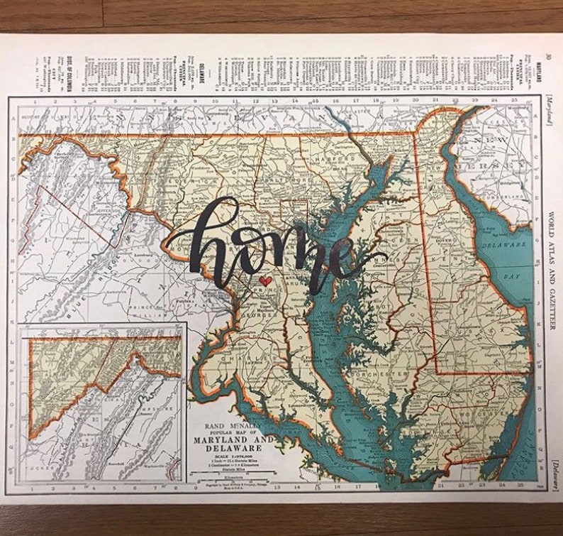 Maine Maryland Delaware  personalized calligraphy map  image 0
