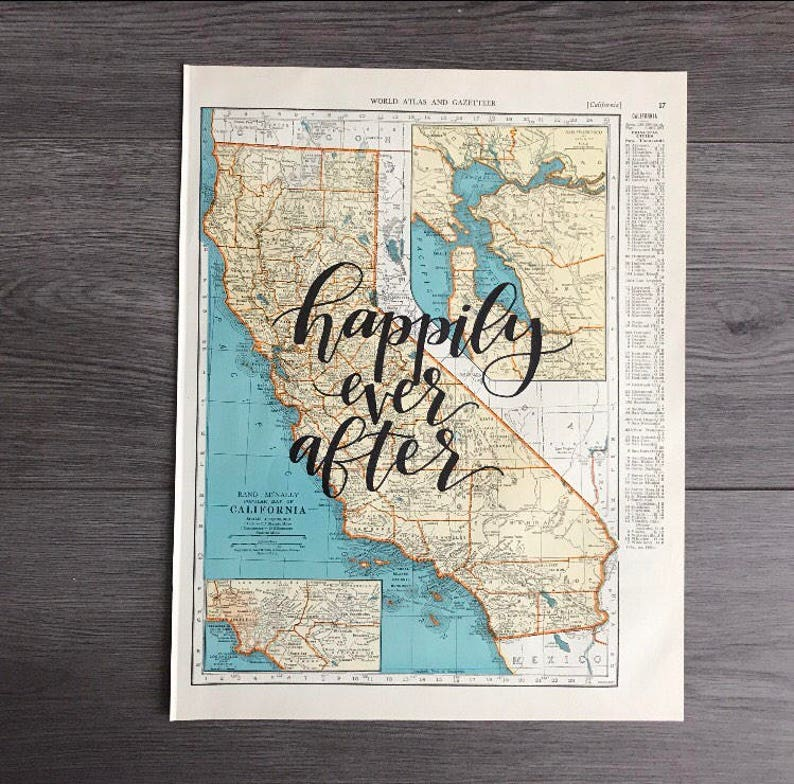 California & Colorado  personalized calligraphy map  image 0