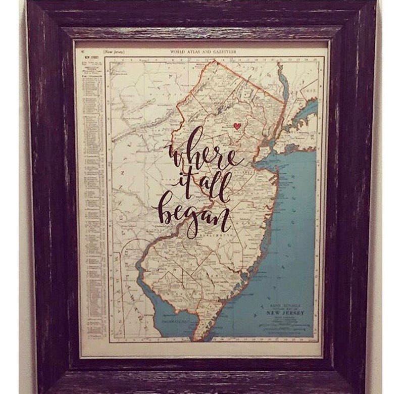 New Hampshire & New Jersey  personalized calligraphy map  image 0