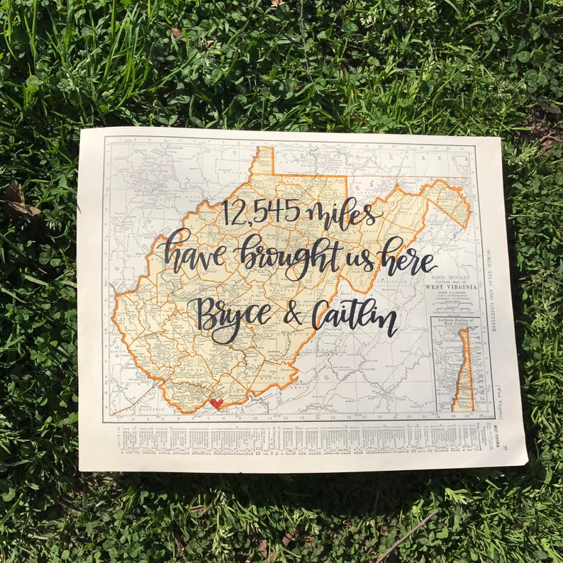 West Virginia & Wisconsin  personalized calligraphy map  image 0