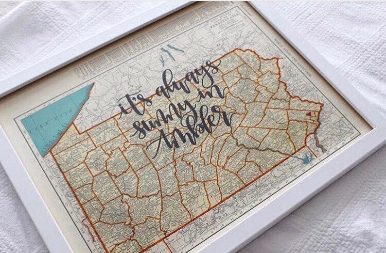 Oregon & Pennsylvania  personalized calligraphy map  image 0