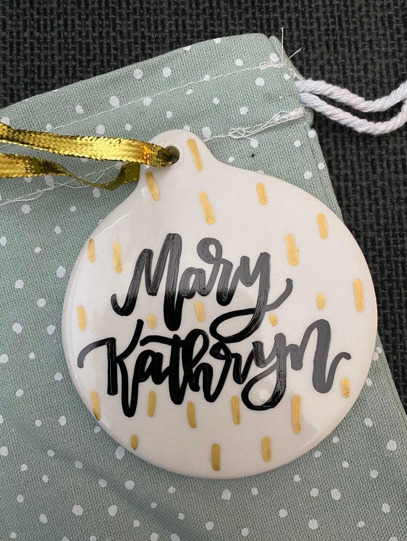 Porcelain Hand-Lettered Ornament