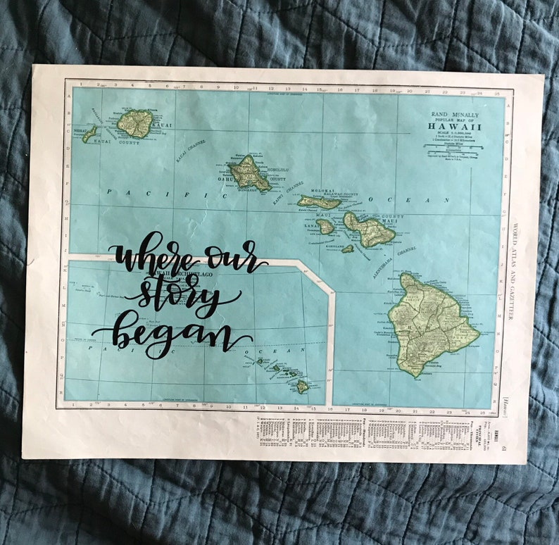 Hawaii  personalized calligraphy map  original vintage map  image 0