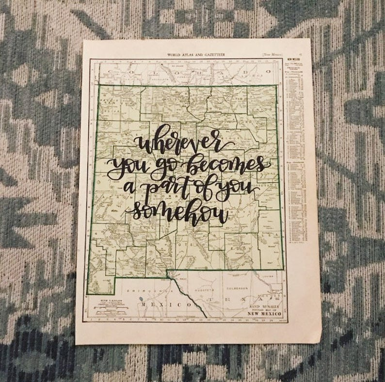New Mexico & New York  personalized calligraphy map  image 0