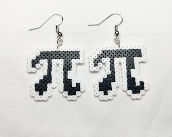 Pi symbol earrings 3d printed with silk plastic