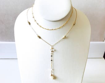 Multi chain gold filled lariat with Herkimer diamonds, gold pyrite, silverite accents, layering gold lariat necklace