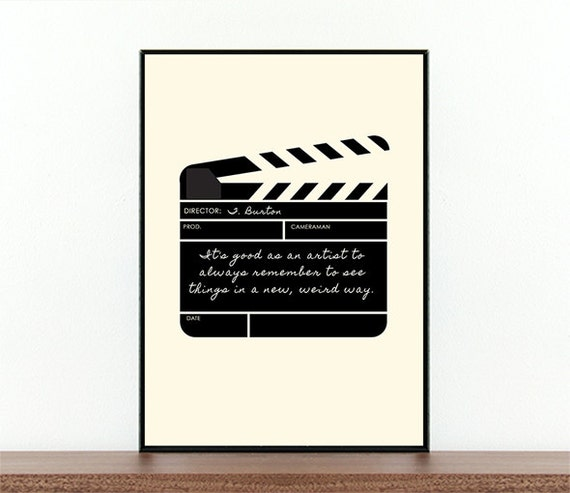 Image of: Trouble Maker Image Quotes Tim Burton Movie Poster Clapper Board Weird Quote Artist Etsy