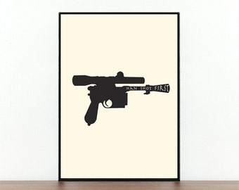 Star Wars, Han Shot First, Movie poster, Movie print, Movie quote, Han solo, Gun, Film poster,  Typography, Poster, Prints, Digital