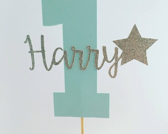 Custom Personalised Boys First Birthday Cake Topper Number One Baby Boy Is 1st